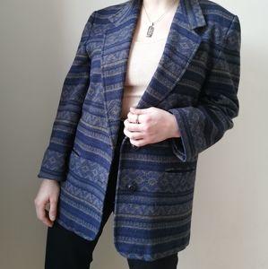 Vintage Wool Geometrical Dark Blue and Green Blaze